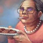 150 minute long digital painting, portrait of an elderly woman, smoking and proffering a plate of cookies